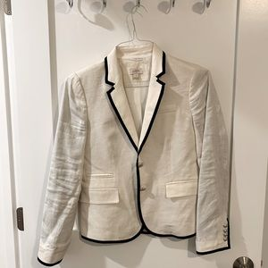 Jcrew white blazer with black trim